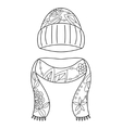 Hat and scarf coloring vector image vector image