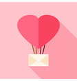 Heart shaped air balloon with envelope vector image