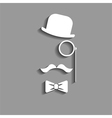 hipster in bowler hat paper silhouette vector image vector image
