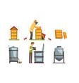honey production process beekeeper harvesting and vector image vector image
