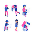 isometric people managers working workspace vector image