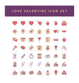 love valentine icon set with filled outline style vector image