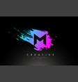 m artistic brush letter logo design in purple