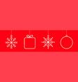 merry christmas ball gift box snowflake icon set vector image
