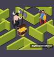 mythical creatures isometric composition vector image vector image