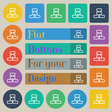 Network icon sign Set of twenty colored flat round vector image