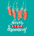 never stop dreaming hand lettering vector image