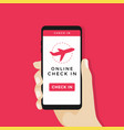 online check in on smartphone vector image vector image