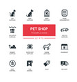pet shop - modern simple thin line design icons vector image vector image