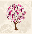 pink love tree concept for valentines day card vector image