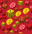 poker chips dice and coins seamless pattern vector image