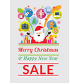 Santa Claus with Gift Icons Sale Event vector image
