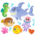 sea fishes and animals collection 4 vector image