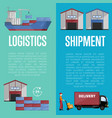 sea port banner set vector image vector image