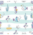 sealife striped background sea fish characters vector image