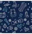 seamless winter adventure pattern vector image vector image