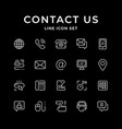 set line icons of contact us vector image
