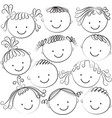 set of kid heads in black color vector image vector image