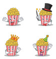 set of popcorn character with crazy magician king vector image vector image