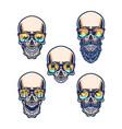 set skull wearing beach glasses vector image