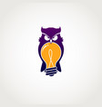 smart owl with bulb idea logo sign symbol icon vector image vector image