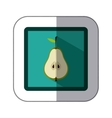 sticker colorful square with half pear vector image
