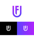 u and f letter monogram shield web icon vector image