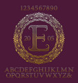 wavy patterned gold letters numbers with monogram vector image vector image