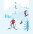 winter sports activity ski resort characters vector image vector image