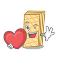 with heart waffle mascot cartoon style vector image vector image