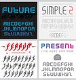 Set of four fonts Latin alphabet letters vector image