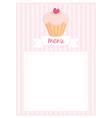 Restaurant menu pink strips retro card vector image