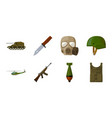 army and armament icons in set collection for vector image vector image