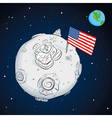 astronaut whit flag usa on the moon color vector image