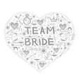 bachelorette party team bride text doodle style vector image vector image