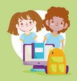 back to school student boy and girl backpack vector image vector image