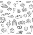 bakery sweets candy food seamless patter vector image vector image