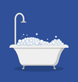 bathtub with foam bubbles and shower vector image
