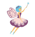 beautiful flying fairy flapping magic stick elf vector image vector image