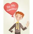 Boy with heart balloon vector image