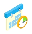 Calendar and clock isometric 3d icon vector image vector image