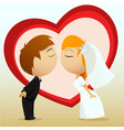 cartoon bride and groom kiss vector image vector image
