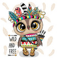 cartoon tribal owl with feathers on a white vector image vector image