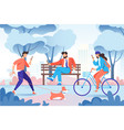 city park with relax people with cellphone dog vector image