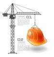 crane lifts the helmet vector image vector image