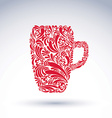 Creative beer mug decorated with floral pattern vector image vector image