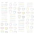 cups mugs silverware outline seamless pattern vector image vector image