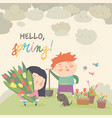 cute cartoon boy and girl with spring flowers vector image