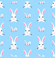 cute rabbit looks out of the hole seamless vector image vector image
