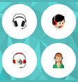 Flat hotline set of earphone headphone operator